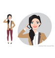 girl is calling by phone vector image
