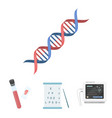 a table of vision tests a blood test a dna code vector image vector image