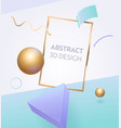 abstract geometric frame 3d banner design vector image