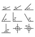 angles icons set on white background vector image vector image