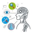 artificial inteligence technology set icons vector image