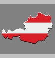 austria map with the austrian flag vector image vector image