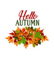 autumn seasonal maple leaf foilage poster vector image vector image