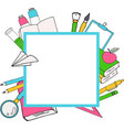 back to school card with color emblems consisting vector image
