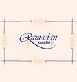 beautiful ramadan kareem text design background vector image vector image