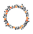 black leaves and orange berry in autumn wreath vector image vector image