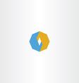 blue orange octagon logo icon abstract vector image vector image