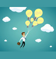 businessman flying on light bulbs vector image vector image