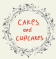 Cakes and cupcakes frame for the bakery or cafe vector image vector image