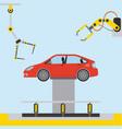 car at hydraulic lifting platform inspection and vector image