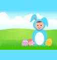 cartoon a kid in rabbit costume vector image vector image