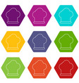 chef hat icons set 9 vector image vector image