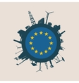 Circle with industrial silhouettes Europe flag vector image vector image