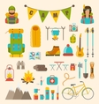 collection camping and hiking equipment vector image