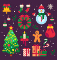 colorful christmas items xmas stocking garland vector image