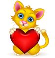 cute cat cartoon holding heat love vector image vector image