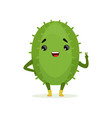 cute smiling cactus funny plant character cartoon vector image