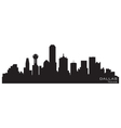 Dallas texas skyline detailed silhouette vector image