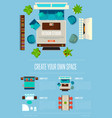 design studio concept with top view apartment vector image