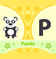 english alphabet with panda vector image vector image