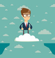 happiness businessman standing on clouds vector image vector image