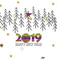 happy new year 2019 card with creative digits and vector image