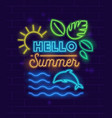 hello summer banner with neon style glowing vector image