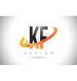 kf k f letter logo with fire flames design and vector image vector image