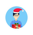 man red hat face avatar new year merry christmas vector image vector image