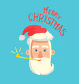merry christmas greeting card santa claus head vector image