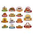 mexican asian fast food snacks and meals icons vector image vector image