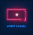 neon map state of south dakota on dark background vector image