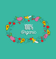 organic food greeting card vegetables and fruit vector image