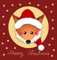 red fox santa claus on red christmas greeting card vector image