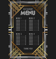 restaurant menu template luxury vintage artdeco vector image
