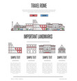 rome travel infographics in linear style vector image vector image