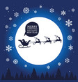 santa claus in sleigh with reindeer on moon vector image vector image