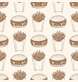 seamless pattern with burger and french fries vector image
