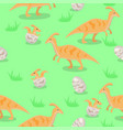 seamless texture with family dinosaurs vector image