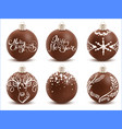 set brown chocolate christmas ball sweet festive vector image vector image