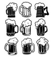 set glasses with beer a collection stylized vector image