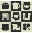Set of black and white flat Irish St Patricks Day vector image vector image