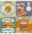 Set of vintage cards - fast food vector image vector image
