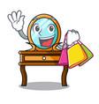 shopping dressing table character cartoon vector image