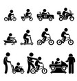 small children riding toy vehicles and bicycle vector image