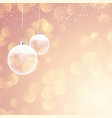 snowy christmas baubles on bokeh lights background vector image vector image