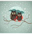 Two cute sad owls in wintertime