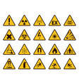 warning signs yellow triangle alerts symbols vector image vector image