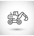 Wheel excavator line icon vector image