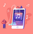 young people listen music on mobile phone vector image vector image